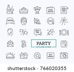event outline icons for holiday.... | Shutterstock .eps vector #766020355