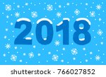 happy new year 2018 text number ... | Shutterstock . vector #766027852