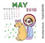 May. 2018 Calendar. Cute Girl...
