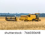 combine harvester in gold... | Shutterstock . vector #766030648
