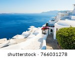 white architecture on santorini ... | Shutterstock . vector #766031278