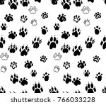 dog's paws seamless pattern.... | Shutterstock .eps vector #766033228