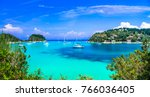 beautiful turquoise bay in... | Shutterstock . vector #766036405