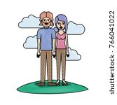 couple in colored crayon... | Shutterstock .eps vector #766041022