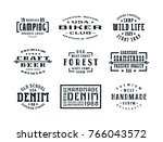 set of typographic emblems in... | Shutterstock .eps vector #766043572