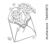vector bouquet with outline... | Shutterstock .eps vector #766043872