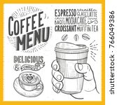 coffee drink menu for... | Shutterstock .eps vector #766049386