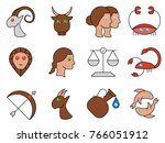 flat simple image with zodiac...   Shutterstock .eps vector #766051912