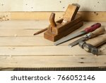 construction tools on wooden... | Shutterstock . vector #766052146