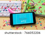 a smartphone with the text...   Shutterstock . vector #766052206