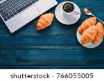 business breakfast  coffee and... | Shutterstock . vector #766055005