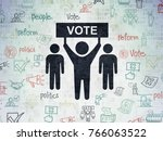 political concept  painted...   Shutterstock . vector #766063522
