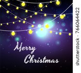 merry christmas greeting card... | Shutterstock .eps vector #766064422