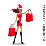 cute santa girl character in... | Shutterstock .eps vector #766065682
