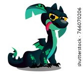 cute winged dragon green color...   Shutterstock .eps vector #766070206