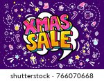 xmas sale message in pop art... | Shutterstock .eps vector #766070668