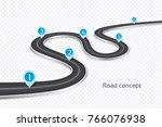 winding 3d road infographic... | Shutterstock .eps vector #766076938