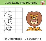 funny lion sitting. copy the... | Shutterstock .eps vector #766080445