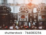 old classic tin toy robots ... | Shutterstock . vector #766083256