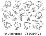 doodle kids suffering from... | Shutterstock .eps vector #766084426