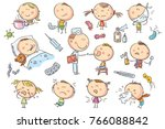 doodle kids suffering from... | Shutterstock .eps vector #766088842