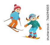 two girls in warm clothes...   Shutterstock .eps vector #766094005
