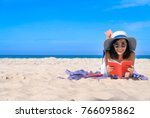 woman happy smiling and read... | Shutterstock . vector #766095862