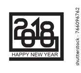happy new year 2018 text design ... | Shutterstock .eps vector #766096762