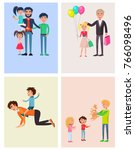 we love you  dad posters set of ... | Shutterstock . vector #766098496