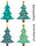 christmas trees with different... | Shutterstock .eps vector #766099498