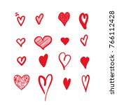 Stock vector hand drawn hearts design elements for valentine s day 766112428