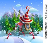 christmas tower house within... | Shutterstock .eps vector #766112662