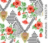 seamless pattern with red...   Shutterstock .eps vector #766121716