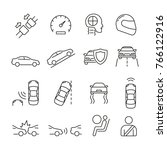 car safety related icons  thin... | Shutterstock .eps vector #766122916