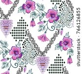 seamless vintage pattern with... | Shutterstock .eps vector #766126855