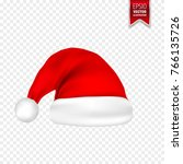 christmas santa claus hats with ... | Shutterstock .eps vector #766135726