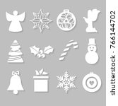 Set Of White Christmas Symbols...