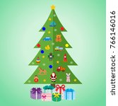 christmas tree with toys and...   Shutterstock .eps vector #766146016