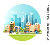 urban landscape. city with...   Shutterstock .eps vector #766148812