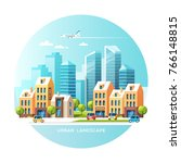 urban landscape. city with... | Shutterstock .eps vector #766148815