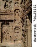 ancient bas relief in  ajanta... | Shutterstock . vector #766159552