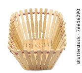 Empty wood basket isolated on white background - stock photo