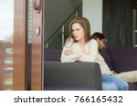 upset frustrated woman sitting... | Shutterstock . vector #766165432