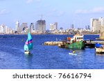yacht  floating into port of...   Shutterstock . vector #76616794