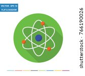 atom flat icon with long shadow.... | Shutterstock .eps vector #766190026