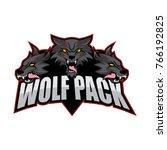 wolf pack vector logo design | Shutterstock .eps vector #766192825