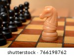 knight on chessboard with rest...   Shutterstock . vector #766198762