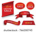 christmas sale  red realistic... | Shutterstock .eps vector #766200745