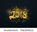 2018 realistic gold sign on... | Shutterstock .eps vector #766204612