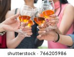 happy time. group of friends... | Shutterstock . vector #766205986